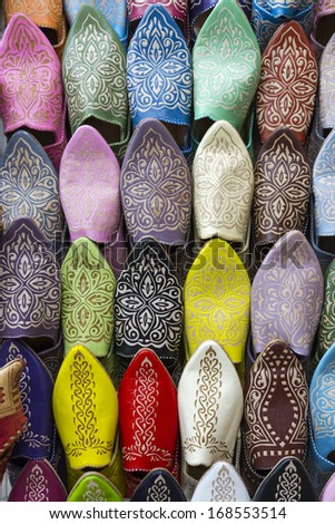 Moroccan traditional slippers, Morocco, Africa - stock photo