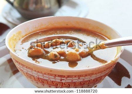 Moroccan traditional soup - harira - stock photo