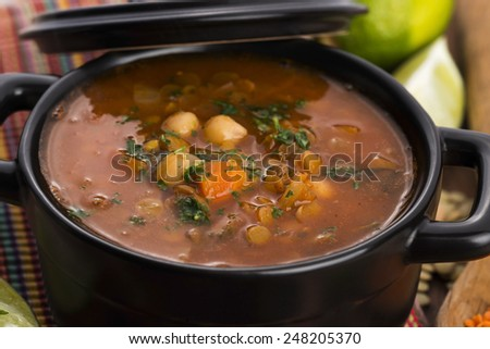 Moroccan traditional soup - harira, the traditional Berber soup of Morocco  - stock photo