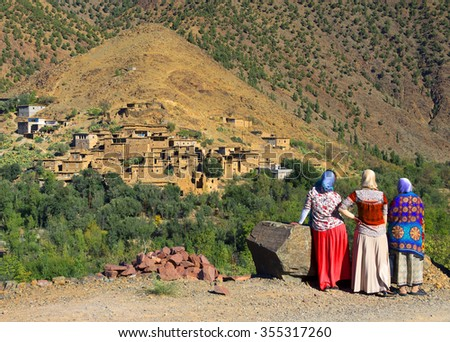 Moroccan village in Atlas Mountains, Africa - stock photo