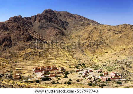 Moroccan village in the Anti-Atlas mountains, Morocco, Africa