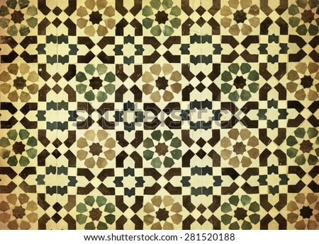 moroccan vintage tile background - stock photo