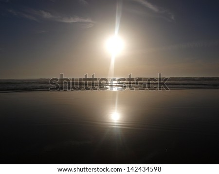 Morocco, Atlantic Ocean in the evening. - stock photo