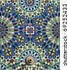 Morocco Casablanca typical arabesque or moorish ceramic tiles and fountain - stock photo