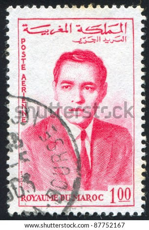 MOROCCO - CIRCA 1957: A stamp printed by Morocco, shows King Hassan II, circa 1957