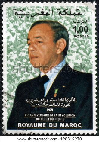 MOROCCO - CIRCA 1979: a stamp printed in Morocco shows Hassan II, King of Morocco, circa 1979 - stock photo