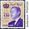 MOROCCO - CIRCA 1981: A stamp printed in Morocco shows King Hassan II (Moulay Hassan II Muhammad ben Yusuf). circa 1981 - stock photo