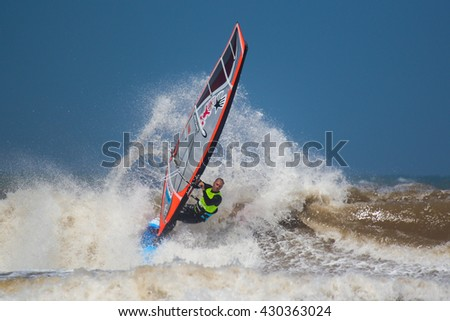 Morocco, Essaouira, Moulay Buzerktoun - May 15, 2016. American Windsurfing Tour competition. Windsurfer Pritchard, Kevin
