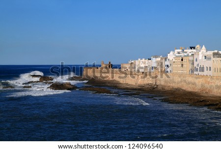 Morocco Essaouira Panoramic view of the old Kasbah and sea wall viewed from the Skala guarding the historical port - UNESCO World Heritage Site