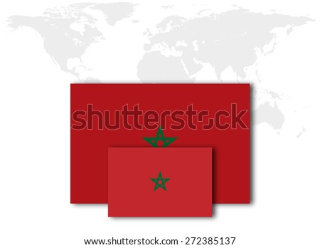 Morocco flag and world map background