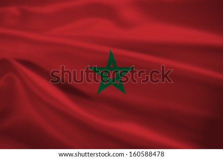 Morocco flag blowing in the wind. Background texture.