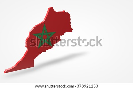 Morocco flag 3d perspective view isolated