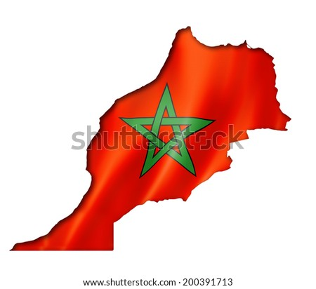 Morocco flag map, three dimensional render, isolated on white
