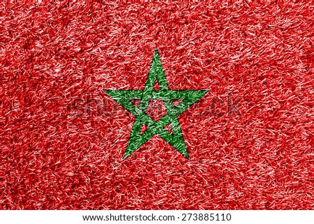 Morocco flag on grass background texture - stock photo