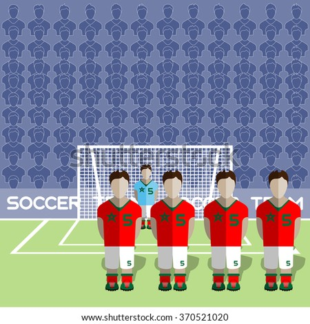 Morocco Football Club Soccer Players Silhouettes. Computer game Soccer team players big set. Sports infographic. Football Teams in Flat Style. Goalkeeper Standing in a Goal. Raster illustration. - stock photo