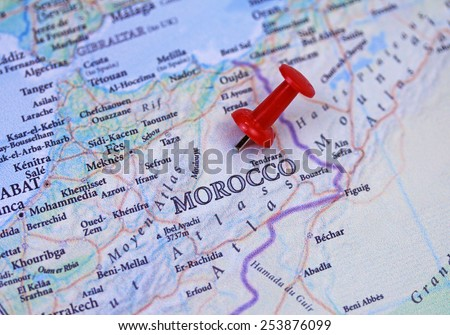 Morocco Map Close Push Pin Stock Photo Royalty Free 253876099
