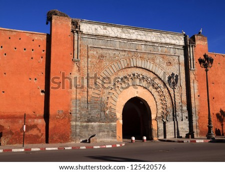 "Morocco Marrakesh ""Bab Agnaou"" the most intricate of the medieval city gates"