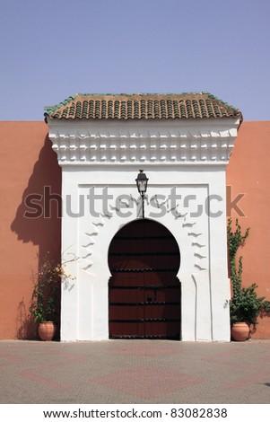 Morocco Marrakesh Beautiful Arabesque door - on of the doors to the Koutoubia Mosque complex - stock photo