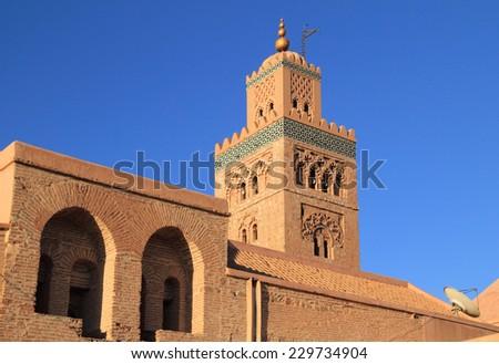 Morocco Marrakesh Koutoubia Mosque and Minaret - UNESCO World Heritage site - stock photo