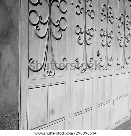 morocco old door and historical nail   wood - stock photo