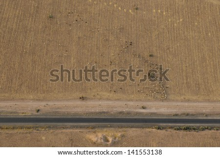 Morocco road in the desert near Marrakech aerial view - stock photo