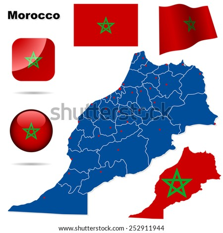 Morocco set. Detailed country shape with region borders, flags and icons isolated on white background. - stock photo
