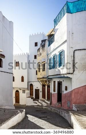 Morocco, Tanger. Narrow street of old town Medina, Kasbah - stock photo