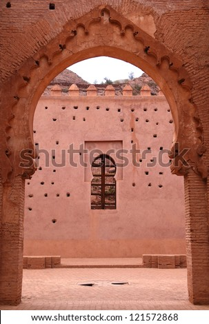 Morocco 12th Century Tin Mel or Tinmal Mosque in the High Atlas Mountains - UNESCO World Heritage Site. - stock photo