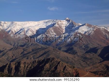 Morocco The High Atlas Mountain range between Marrakesh, Ait Ben Haddou and Ouarzazate - stock photo
