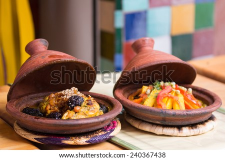 Morocco typical dish - meat and vegetable in a tajine.  - stock photo