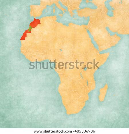 Morocco Western Sahara Moroccan Flag On Stock Illustration 485306986