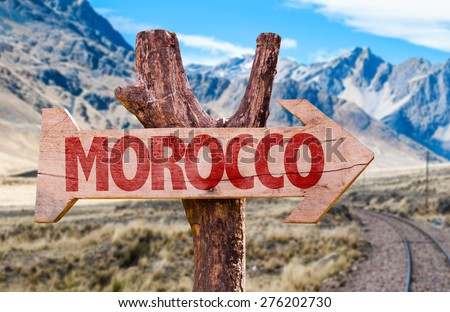 Morocco wooden sign with desert background - stock photo