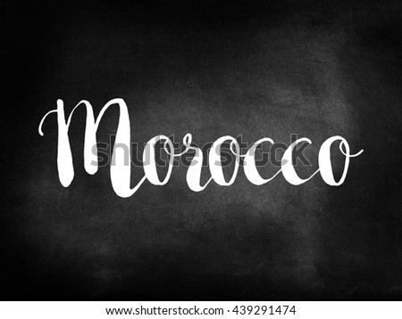 Morocco written on a blackboard