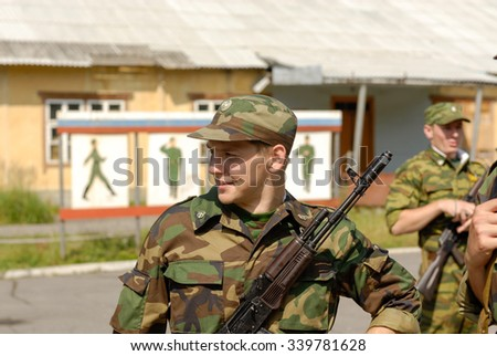 MOROZKI, RUSSIA - July 15, 2006 - Young Russian soldiers on a military Oath day in army - stock photo