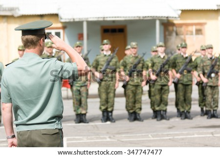 MOROZKI, RUSSIA - July 14, 2007 - Young Russian soldiers on a military Oath day in army