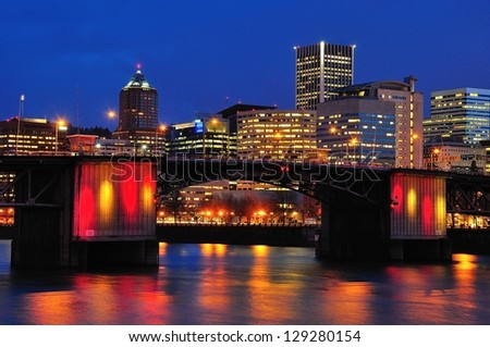 Morrison Bridge at Twilight - stock photo