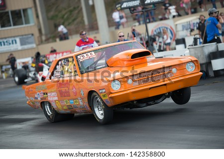 Morrison, CO - June 15, 2013: Car 5333 runs the quarter mile during Thunder on the Mountain presented by Grease Monkey at Bandimere Speedway. - stock photo