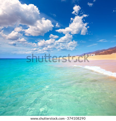 Morro Jable Matorral beach Jandia in Pajara of Fuerteventura at Canary Islands - stock photo