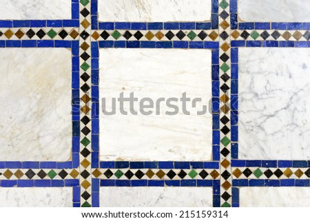 Morrocan traditional mosaic ornament from El Bahia Palace in Marrakesh. - stock photo