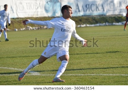 MORSHUN, UKRAINE - OCT 25: Cristian Cedres in action during the UEFA Youth Champions League match between Shakhtar vs Real Madrid (U19), 25 October 2015, Ukraine