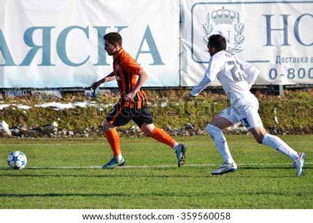 MORSHUN, UKRAINE - OCT 25: Mathias Rodriguez (R) in action during the UEFA Youth Champions League match between Shakhtar vs Real Madrid (U19), 25 October 2015, Ukraine