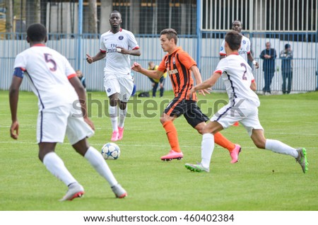 MORSHUN, UKRAINE - SEP 30: Football players in action during the UEFA Youth Champions League match between Shakhtar vs Paris Saint-Germain (PSG) (U19), 30 September 2015, Ukraine