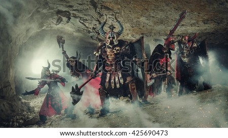 Mortal combat of powerful knights in heavy armor in the Forbidden Caves.