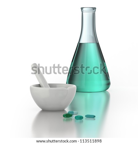 Mortar and pestle, chemistry beaker and medicine pills on white background