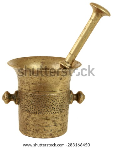 Mortar and Pestle Isolated on White Background