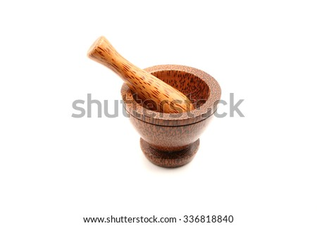 Mortar and pestle. Isolated on white background - stock photo