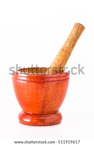 Mortar and pestle on a white background.