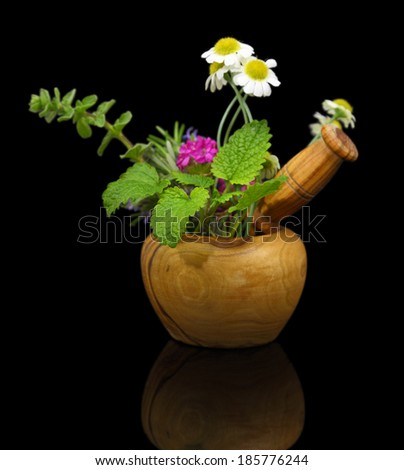 Mortar and pestle with fresh herbs on black background - stock photo
