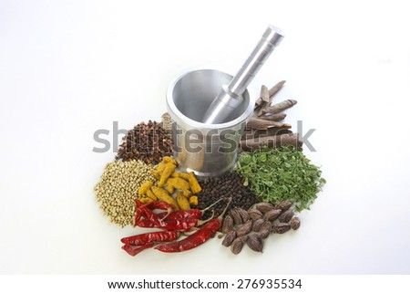 Mortar and pestle with variety of spices over white background - stock photo