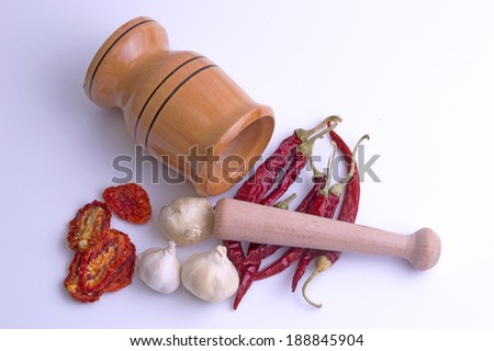 mortar ans pestle isolated on white background - stock photo